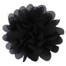 10cm Pompom Bloom BLACK Fabric Flower Applique